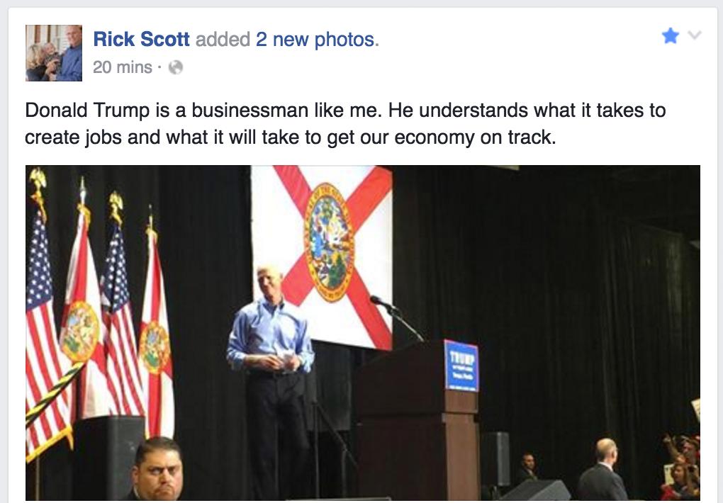"""Rick Scott Calls Donald Trump """"a Businessman Like Me"""""""